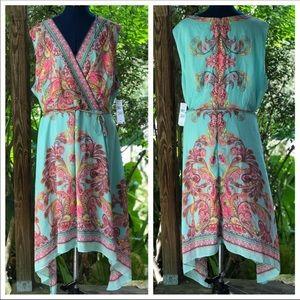 Studio 1 | Turquoise Blue Paisley Print Dress